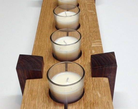 Wooden Candle Holder Table Center Piece