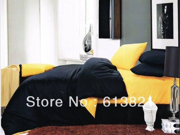 Yellow Black Cotton Sheets Bedding Sets Comforter