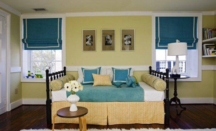 Yellow Blue Kids Bedroom Transitional Girl Room