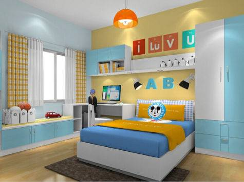 Yellow Blue Walls Boys Bedroom