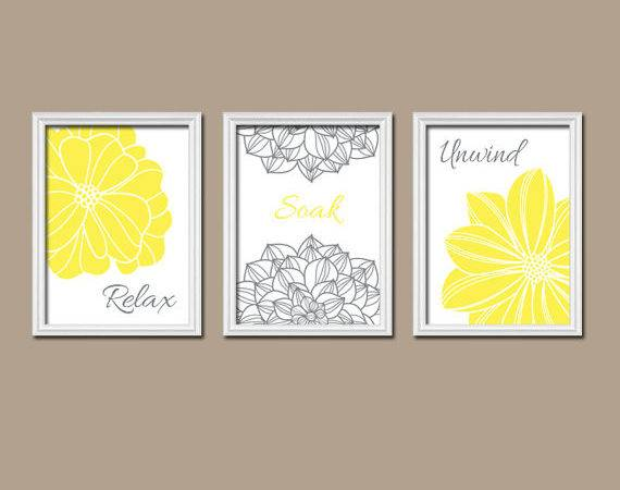 Yellow Gray Bathroom Wall Art Canvas Prints Relax