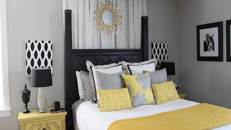 Yellow Gray Bedroom Decorating Ideas Decor