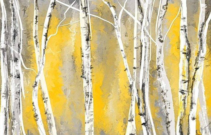 Yellow Gray Birch Trees Greeting Card Sale