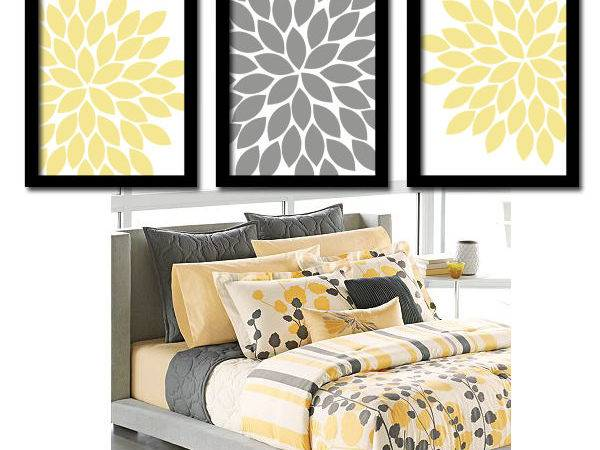 Yellow Gray Wall Art Bedroom Canvas Prints Trmdesign