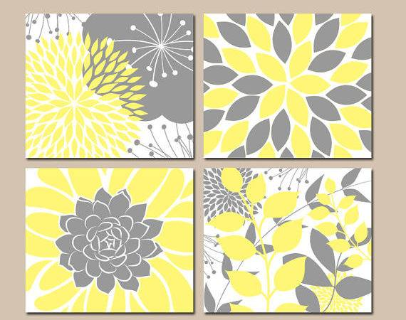 Yellow Gray Wall Art Canvas Prints Floral Bedroom