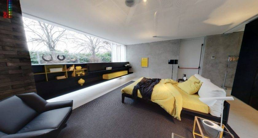 Yellow Grey Bedroom Fitted Storage Black