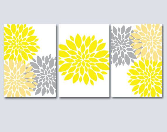 Yellow Grey Bedroom Wall Art Floral