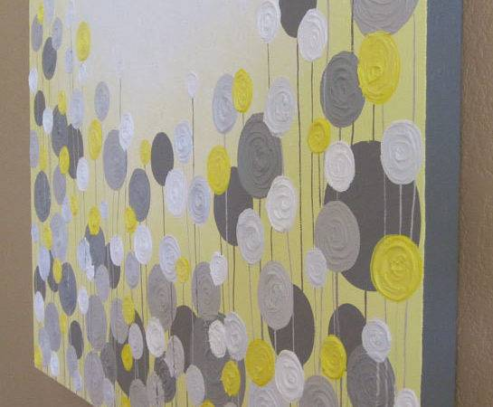 Yellow Grey Wall Art Textured Painting Abstract