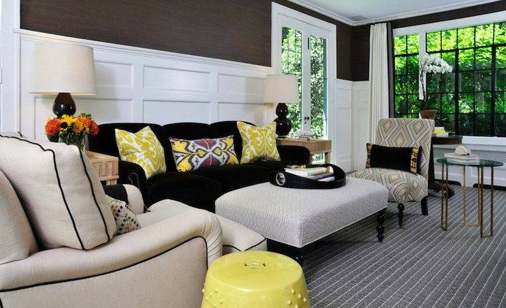 Yellow Ikat Pillow Contemporary Living Room Muse