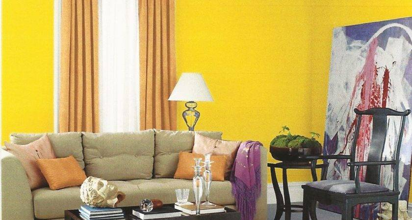 Yellow Living Room Interior Wall Paint Color Grey