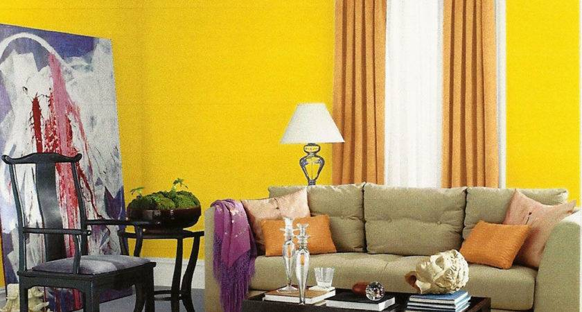 Yellow Paint Color Modern Living Room Interior Design