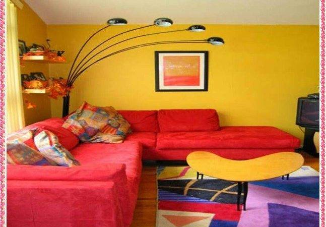 Yellow Painted Living Rooms Modern House